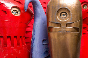 "Susan Budge ""Eye Spy Red"", ""Blue Tears"", and ""Gold Guardian"" Ceramic"